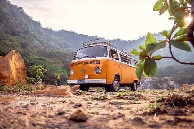 photo of yellow van during daytime